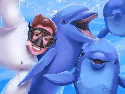 Cheerful Dolphins Illustration animal art selfie wildlife cheerful sea creatures sea diving diver dolphins animals illustrations illustration art illustrator digital illustration digital painting design studio illustration graphic design digital art design
