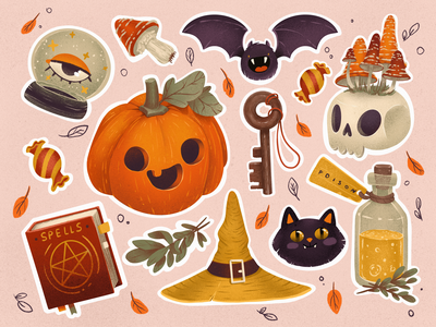 Halloween Stickers: Trick or Treat! cute illustration sticker design autumn magic jack o lantern pumpkin trick or treat stickers halloween design halloween illustrations illustration art digital painting digital illustration illustrator design studio illustration graphic design digital art design