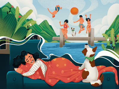 Dreaming About Summer people diving woman dog outdoors sleep summer dreams illustrations procreate character illustration art digital painting digital illustration illustrator design studio illustration graphic design digital art design