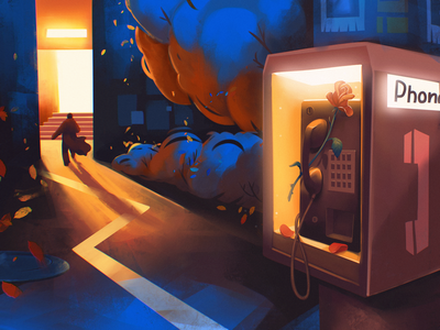 Love Story Illustration illustrations people street night story romantic flower phone box love procreate character illustration art digital painting digital illustration illustrator design studio illustration graphic design digital art design