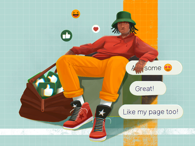 Like and Share Illustration fashion people illustrations blogger man social networks comments social media likes social network social illustrations illustration art digital painting digital illustration illustrator design studio illustration graphic design digital art design