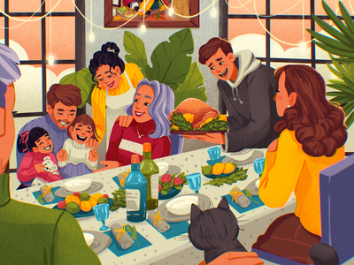Thanksgiving Dinner Illustration holidays home people generations dinner thanksgiving family 2d art illustrations procreate character illustration art digital painting digital illustration illustrator illustration graphic design digital art design design studio