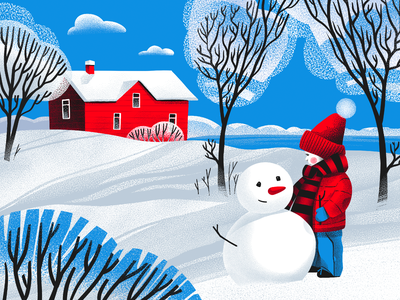 Hello Winter Illustration house nature winter art kid red outdoors snowman snow child winter character illustration art digital painting digital illustration illustrator design studio illustration graphic design digital art design