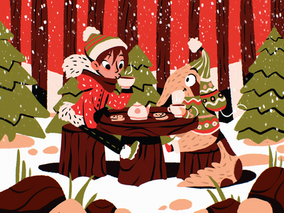Winter Wonderland Illustration nature snow outdoors christmas winter holidays forest winter wonderland winter tea procreate character illustration art digital painting digital illustration illustrator design studio illustration graphic design digital art design