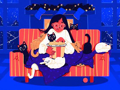 Holiday Cats Illustration cozy girl movie funny illustration pets night holidays christmas home cats illustrations illustration art digital painting digital illustration illustrator design studio illustration graphic design digital art design
