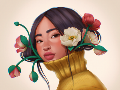 Invincible Summer Illustration illustrations flowers illustration beauty blossom nature inspiration flowers summer woman procreate character illustration art digital painting digital illustration illustrator design studio illustration graphic design digital art design