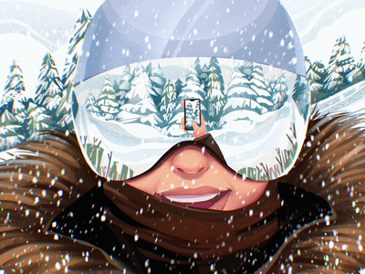 Active Winter Illustration selfie illustrations winter sports skiing snowboarding landscape forest snow procreate winter woman illustration art digital painting digital illustration illustrator design studio illustration graphic design digital art design