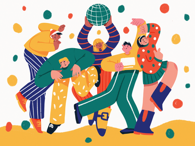 Party Mode On Illustration illustrations fun friends disco dance procreate new year christmas party people character illustration art digital painting digital illustration illustrator design studio illustration graphic design digital art design