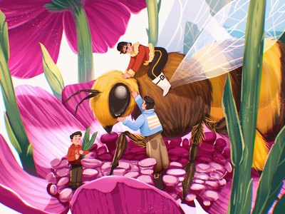 Book Illustration: Busy Bee insect digital artwork illustrations book art character design work flower bee book illustration character procreate illustration art digital painting digital illustration illustrator design studio illustration graphic design digital art design