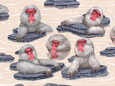 Relaxing Monkeys Illustration nature hot springs wildlife art wildlife winter animals monkey relaxing warm procreate character illustration art digital painting digital illustration illustrator design studio illustration graphic design digital art design