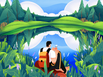 Perfect Isolation woods travel enviroment isolation spring summer landscape forest nature procreate character illustration art digital painting digital illustration illustrator design studio illustration graphic design digital art design