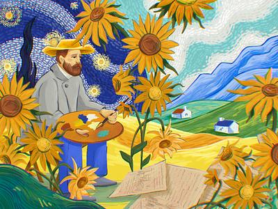 Artists' Universe: Vincent van Gogh painters artwork sunflowers landscape nature painting art artist van gogh painter character illustration art digital painting digital illustration illustrator design studio illustration graphic design digital art design