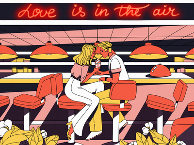 Love Is in the Air relationship people valentines day restaurant bar couple romantic romance love illustrations procreate illustration art digital painting digital illustration illustrator design studio illustration graphic design digital art design