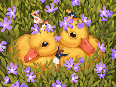 Book Illustration: Cute Ducklings poultry book art book illustration fairytale cute character little duck bird duckling illustrations character illustration art digital painting digital illustration illustrator design studio illustration graphic design digital art design