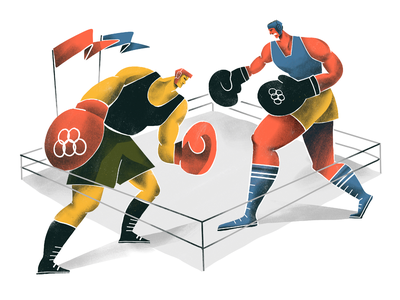 Summer Olympic Sports: Boxing boxing ring sportsman people fighters olympics olympic games boxers fight boxing sports illustrations illustration art digital painting digital illustration illustrator design studio illustration graphic design digital art design