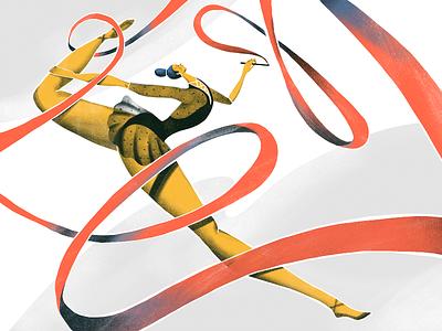 Summer Olympic Sports: Rhythmic Gymnastics sports art woman athlete olympic games olympics olympic gymnastics gymnast sports sport illustrations illustration art digital painting digital illustration illustrator design studio illustration graphic design digital art design