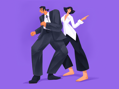 Pulp Fiction Epic Dance illustration design fan art couple dancers dance cinematography film pulp fiction tarantino movie illustrations illustration art digital painting digital illustration illustrator design studio illustration graphic design digital art design