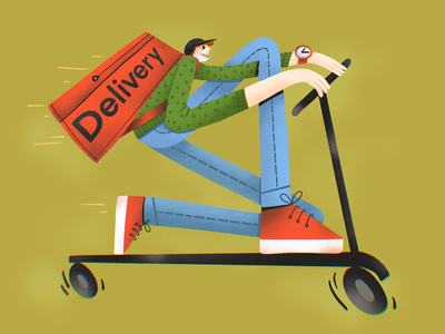Fast Delivery Illustration fast transport man boy procreate city life scooter jobs people illustrations delivery illustrations illustration art digital painting digital illustration illustrator design studio illustration graphic design digital art design