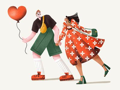 Love Moments 2d art illustration art digital artist people illustration procreate walk heart couple romantic romance love people digital illustration illustrator design studio illustration graphic design digital art design