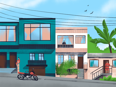 Random Streets: Armenia, Colombia summer travel procreate illustration art traveling colombia cityscape houses town urban google street view street city digital illustration illustrator design studio illustration graphic design digital art design
