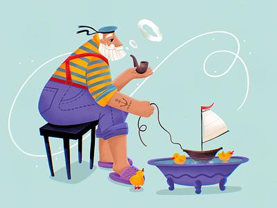 Retired Professionals: Sailor pensioner retirement digital painting procreate art illustration art job profession professional sailor sea old man retired people digital illustration illustrator design studio illustration graphic design digital art design