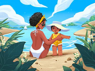 Seaside Holiday Magic seaside parents holiday beach ocean sea childhood kid child mother family illustration art summer digital illustration illustrator design studio illustration graphic design digital art design