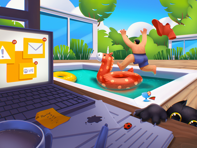 Relax and Recharge procreate home workspace illustration art holiday weekend having fun rest relax work swimming pool summertime summer digital illustration illustrator design studio illustration graphic design digital art design