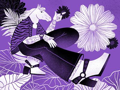 Botanicart: Purple animal digital painting illustration art procreate character blossom nature botanic flowers plants horse art purple digital illustration illustrator design studio illustration graphic design digital art design