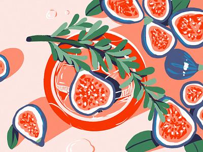 Juicy Figs Pattern digital painting flatlay food wallpaper bright colors nature procreate illustration art pattern poster art fruit figs digital illustration illustrator design studio illustration graphic design digital art design