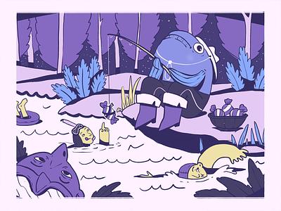 Fantastic World Illustration art digital artwork creative illustration purple procreate art digital painting leisure outside outdoors fish fishing fantasy digital illustration illustrator design studio illustration graphic design digital art design