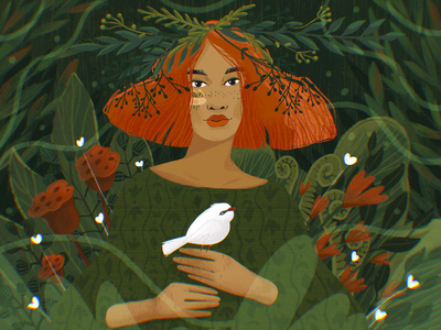 Back to Nature digital artwork people digital painting procreate flora trees girl bird forest flowers nature portrait woman digital illustration illustrator design studio illustration graphic design digital art design