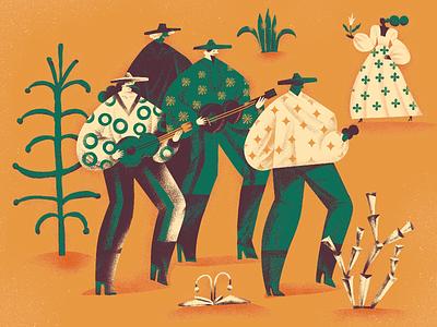 Feel the Rhythm procreate digital painting band dancing social dance south america latin america dance musicians music sombrero mexican art digital illustration illustrator design studio illustration graphic design digital art design