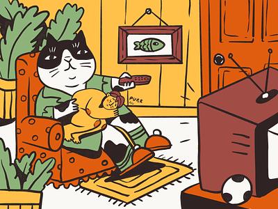 Fantastic Worlds: Purrfect Stay-In character kitten cat fairytale room tv procreate illustration art funny illustration home animals pets fantasy digital illustration illustrator design studio illustration graphic design digital art design