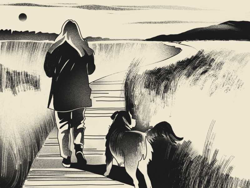 Getting Recharged field dog digital artwork procreate isolation nature countryside art monochrome black and white walker walk digital artist digital illustration illustrator design studio illustration graphic design digital art design