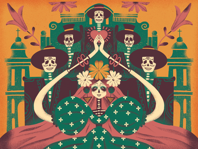 Dance of Halloween art trick or treat holidays digital painting dance october autumn skeletons all saints halloween digital illustration illustrator design studio illustration graphic design digital art design