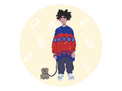 Sweater Season illustration art digital painting season autumn boy people illustration people animals pet dog walker dog sweater digital illustration illustrator design studio illustration graphic design digital art design