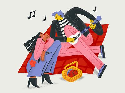 Serenade Time procreate picnic guitar romantic love music people digital illustration illustrator design studio illustration graphic design digital art design