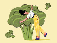 Broccoli Lover Illustration blog illustration woman vegetables website illustration hero image healthy life healthy eating health digital painting illustrator character design creative agency digital illustration digital art graphic design illustration broccoli design studio design character