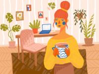 Cosy Freelancing Illustration