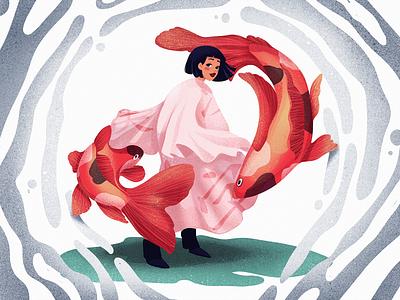 Koi Power Illustration art sea animal nature woman procreate japanese culture koi fish koi japan illustration art digital painting character digital illustration illustrator illustration graphic design digital art design studio design