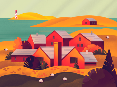 Autumn Colors Illustration house illustration sea village atmospheric houses buildings landscape fall autumn nature procreate illustration art creative agency digital painting digital illustration illustration graphic design digital art design studio design