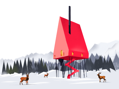 Red House Illustration creative illustration art snow building house red countryside deer nature winter illustration art procreate digital painting digital illustration illustrator graphic design illustration digital art design studio design