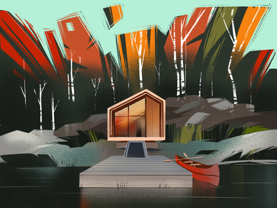 House in the Woods Illustration nature illustration creative illustration art cabin autumn architecture woods nature forest house procreate creative agency digital painting digital illustration illustrator illustration graphic design digital art design studio design