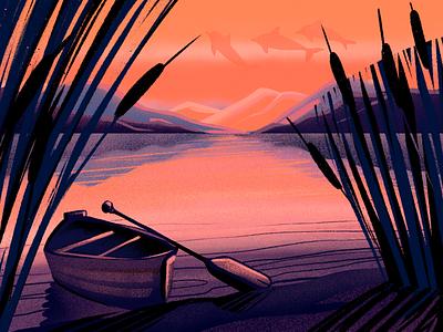 Sunset River Illustration creative art loneliness boat nature illustration sunset nature river procreate illustration art digital painting digital illustration illustrator illustration digital art graphic design design studio design