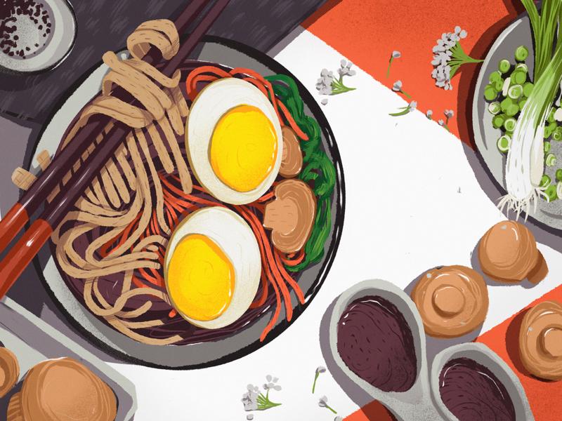 Asian Food Illustration noodles eating out food and drink tasty asian food cuisine restaurant food illustration food procreate illustration art digital painting digital illustration illustrator illustration graphic design digital art design studio design