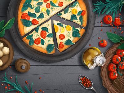 Italian Food Illustration graphic art illustrations procreate tasty pizza cuisine italian restaurant italian food meals food art illustration art digital painting digital illustration illustrator design studio illustration graphic design digital art design