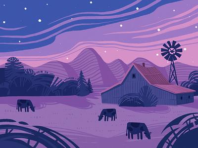 Night Dinosaur Illustration sci-fi fantasy cartoon farmhouse characters motion design dinosaur animation night illustration art procreate digital painting digital illustration illustrator design studio illustration graphic design digital art design