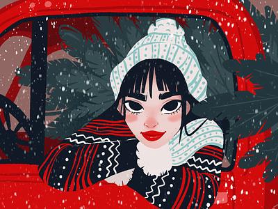 Snowy Day Illustration blinking girl illustration snowfall winter illustration girl snow winter illustration art motion design animation character procreate digital painting digital illustration illustrator design studio illustration graphic design digital art design