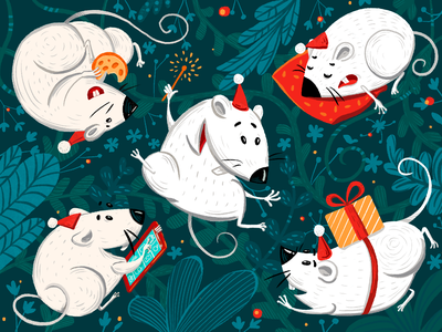 Christmas Rats Illustration cute animals digital artwork pattern holidays christmas new year animals mouse rat character design procreate character digital painting digital illustration illustrator design studio illustration graphic design digital art design