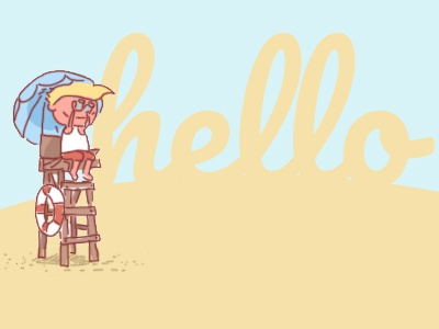 Hello dribbblers! thank you first shot lifeguard beach illustration hello debut